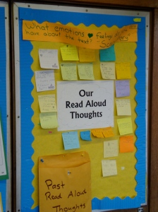 Anthony's class collects thoughts during the read aloud that they can return to and talk more about.