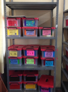 Tere and her colleagues begin to organize the leveled books at their school, Guadalajara