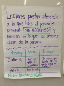 Instructional chart used during a reading minilesson in Guadalajara brings in language readers are expected to use and examples from texts the teacher has read out loud.